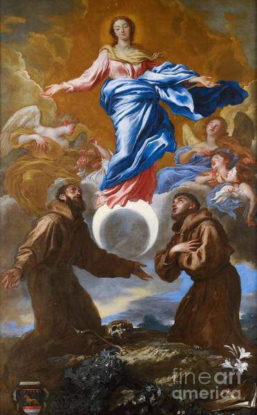 Immaculate Conception Wall Art - Painting - The Immaculate Conception With Saints Francis Of Assisi And Anthony Of Padua by Il Grechetto