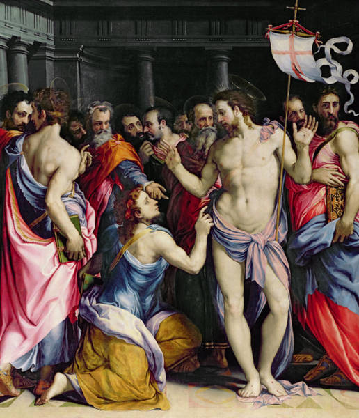 Back Painting - The Incredulity Of Saint Thomas by Francesco de Rossi Salviati Cecchino