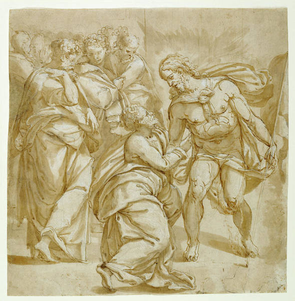 Wall Art - Drawing - The Incredulity Of Thomas Recto,  Study For The Figure by Litz Collection