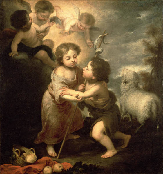 Putto Photograph - The Infants Christ And John The Baptist Oil On Canvas by Bartolome Esteban Murillo