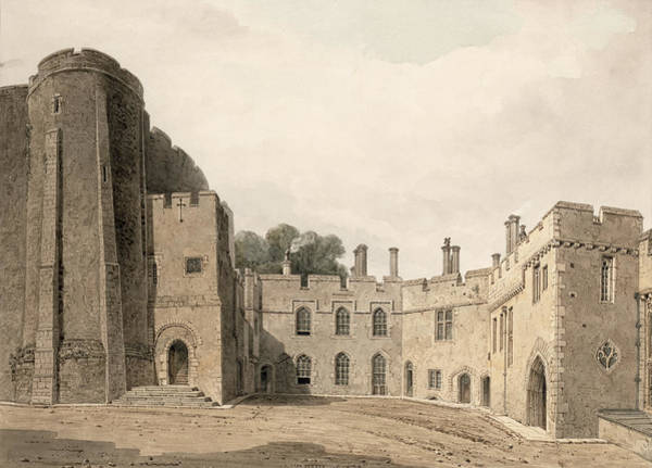 Fortification Wall Art - Drawing - The Inner Court Of Berkeley Castle by John Chessell Buckler