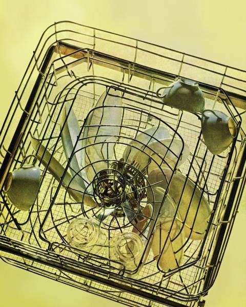 Yellow Background Photograph - The Inside Of A Hotpoint Dishwasher by Herbert Matter