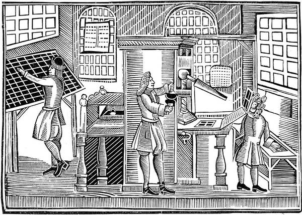 Inking Wall Art - Drawing - The Interior Of An English  Printing by Mary Evans Picture Library