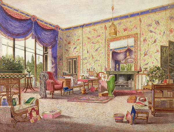 Drapes Painting - The Interior Of The Chinese Drawing by William Alfred Delamotte