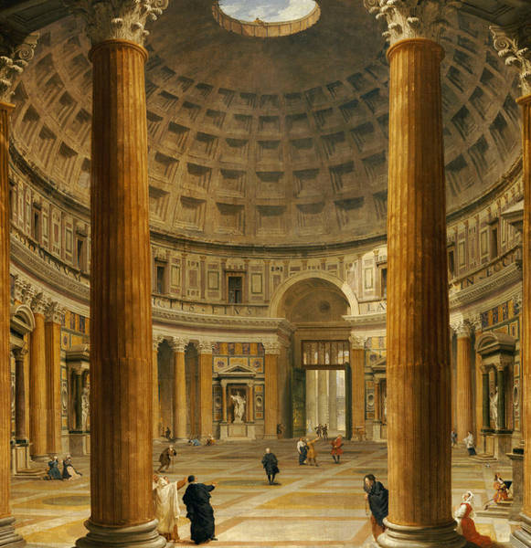 Skylights Wall Art - Painting - The Interior Of The Pantheon by Giovanni Paolo Panini