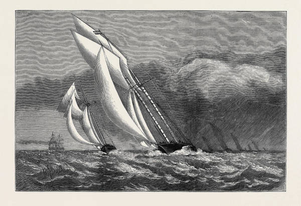 Wall Art - Drawing - The International Yacht Race, The Corinne  And Enchantress by English School