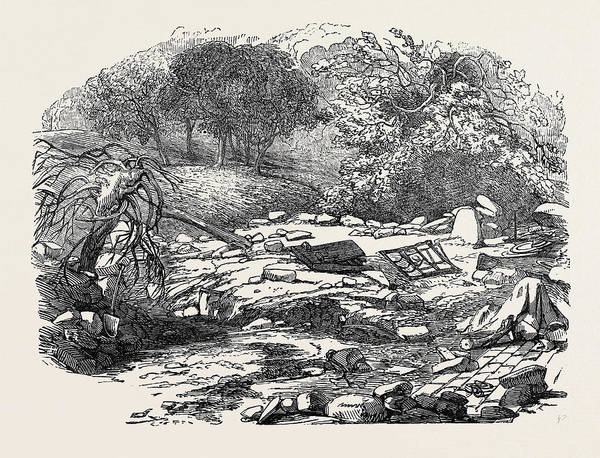 Wall Art - Drawing - The Inundations In Worcestershire Ruins Of The Bower by English School