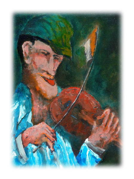 Painting - The Irish Fiddle Flag by Val Byrne