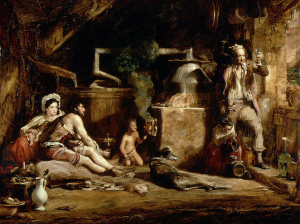 Moonshine Photograph - The Irish Whiskey Still, 1840 Oil On Panel by Sir David Wilkie