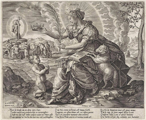 Wall Art - Drawing - The Iron Age The Law Of The Grace Of The New Testament by Hieronymus Wierix And Pieter Balten