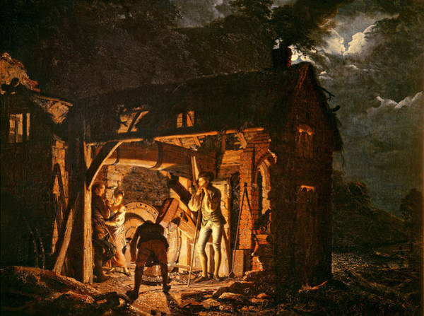 Blacksmith Wall Art - Photograph - The Iron Forge Viewed From Without, C.1770s Oil On Canvas by Joseph Wright of Derby