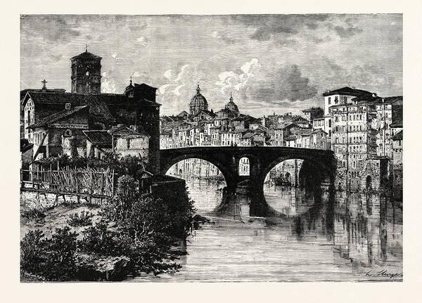 Tiber Island Wall Art - Drawing - The Island In The Tiber And Bridge Of Quattro Capt by Italian School