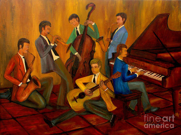 Sax Painting - The Jazz Company by Larry Martin