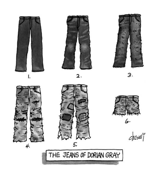 Jeans Drawing - The Jeans Of Dorian Gray by Tom Cheney