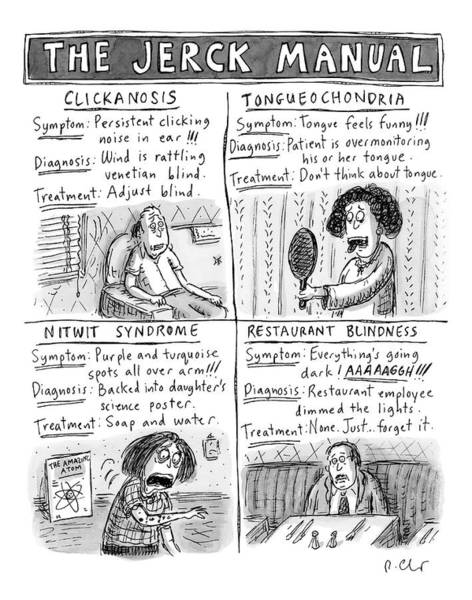 Diagnosis Wall Art - Drawing - The Jerck Manual by Roz Chast