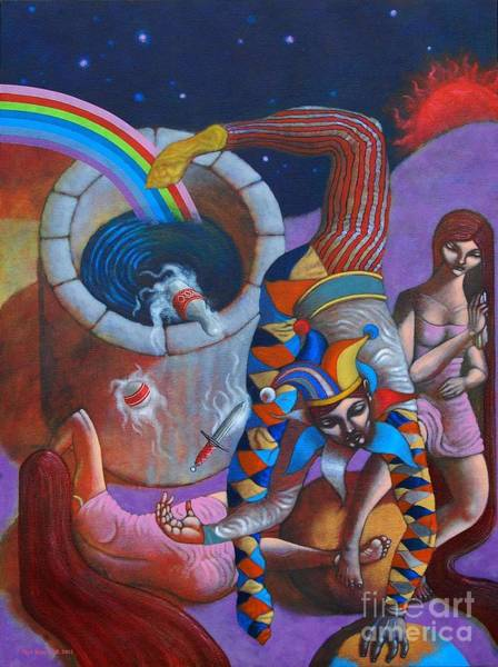 Wall Art - Painting - The Jester King by Paul Hilario