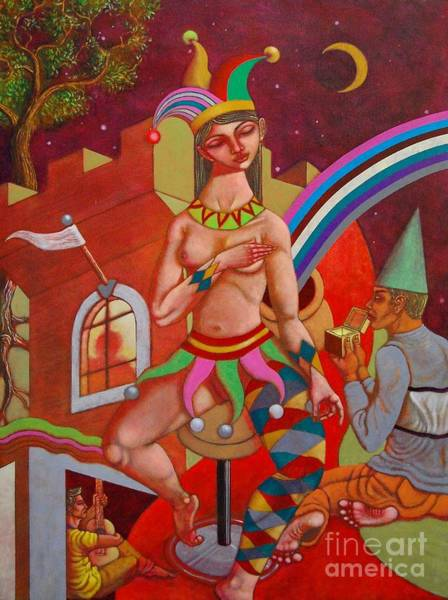 Wall Art - Painting - The Jester Queen by Paul Hilario