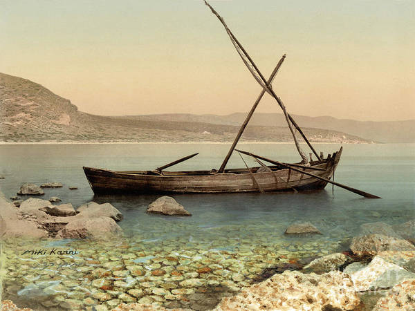 Sea Land Painting - The Jesus Boat At The Sea Of Galilee  by Miki Karni