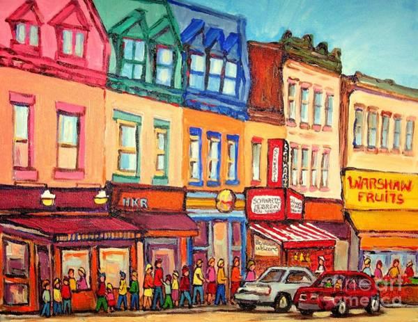 Painting - The Jewish Street Warshaw's Bargain Fruit Market Montreal Paintings City Scne Art Carole Spandau by Carole Spandau