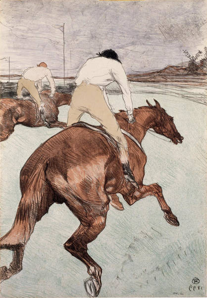 Impressionistic Landscape Drawing - The Jockey by Henri de Toulouse-Lautrec