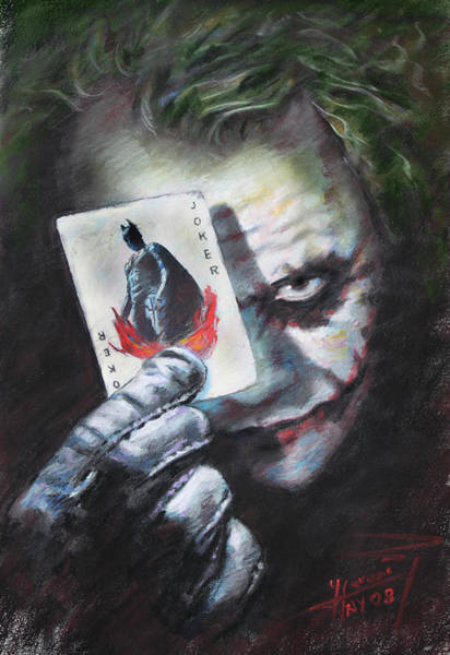 Knights Drawing - The Joker Heath Ledger  by Viola El
