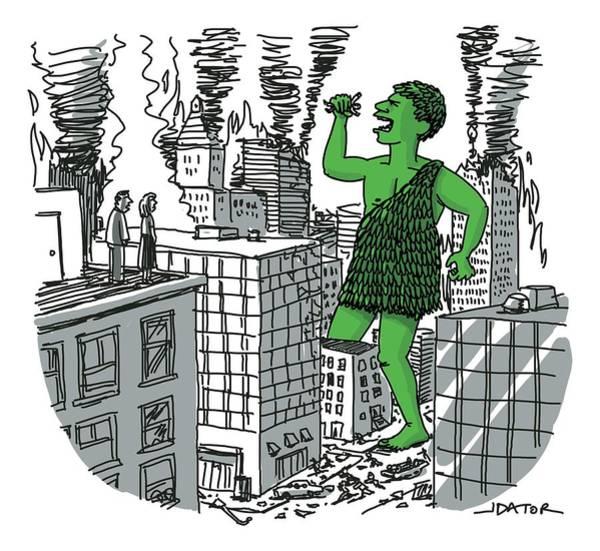 December 19th Drawing - The Jolly Green Giant Walks Like Godzilla by Joe Dator