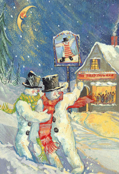 The Jolly Snowman  Art Print
