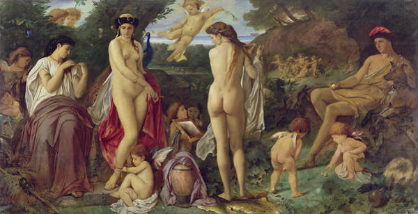 Putto Photograph - The Judgement Of Paris, 1870 Oil On Canvas by Anselm Feuerbach