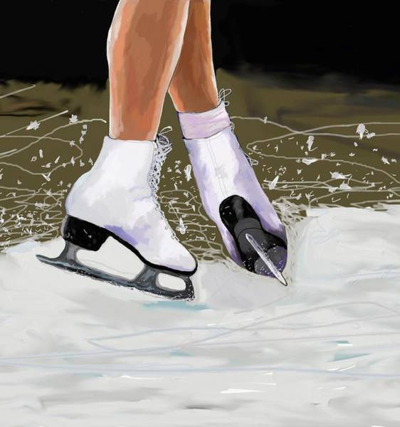 Skate Painting - The Jump by Jeanne Fischer