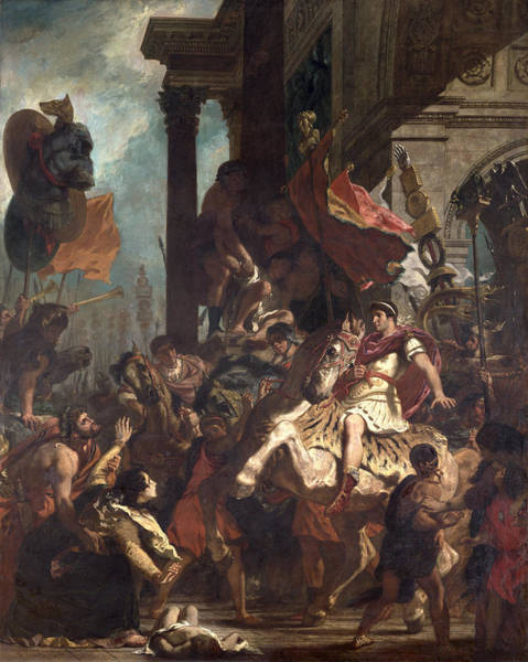 Mercy Wall Art - Photograph - The Justice Of Trajan 53-117 1840 Oil On Canvas by Ferdinand Victor Eugene Delacroix