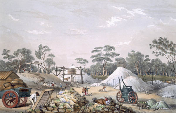 Cart Drawing - The Kapunda Copper Mine, From South by George French Angas