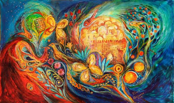 Hamsa Wall Art - Painting - The Key Of Jerusalem by Elena Kotliarker