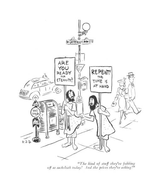 Christianity Drawing - The Kind Of Stuff They're Fobbing by Robert J. Day