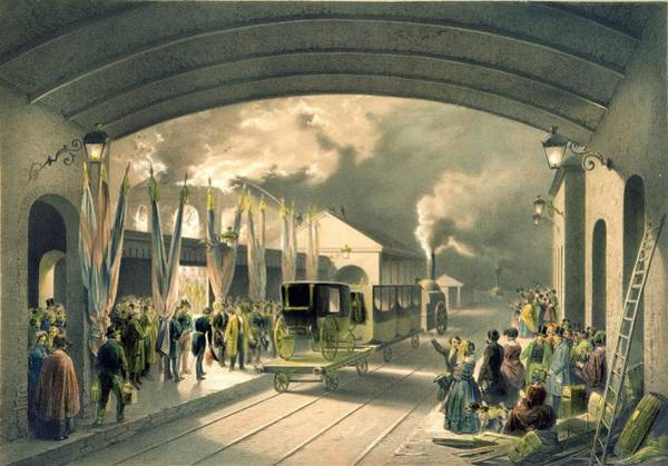 Locomotive Drawing - The King At New Cross Station by Edouard Pingret