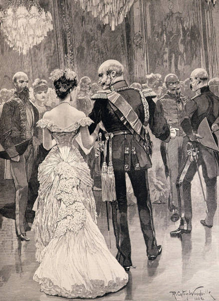1888 Photograph - The King Of Prussia At A Court Ball In 1862, Pointing Out Bismarck, His New Minister Of State by Richard Caton II Woodville