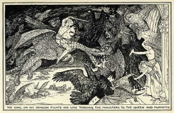 Folklore Drawing - The King, Riding A Dragon,  Rescues by Mary Evans Picture Library