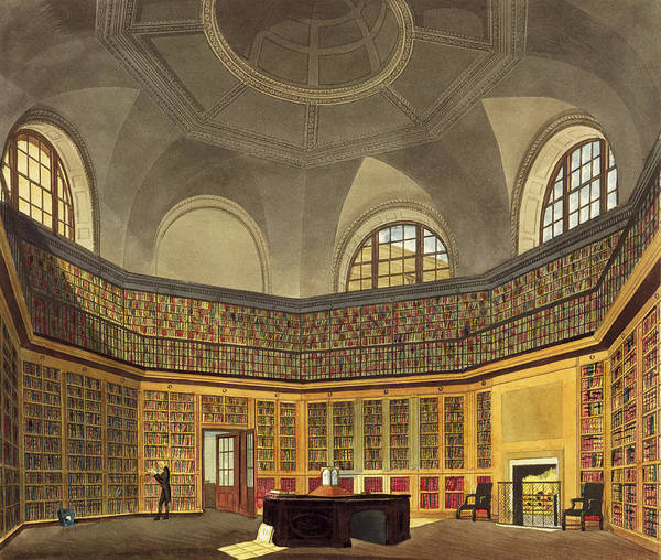 Library Drawing - The Kings Library by James Stephanoff