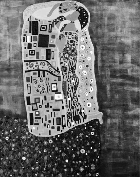 Painting - The Kiss Bw by Angelina Tamez