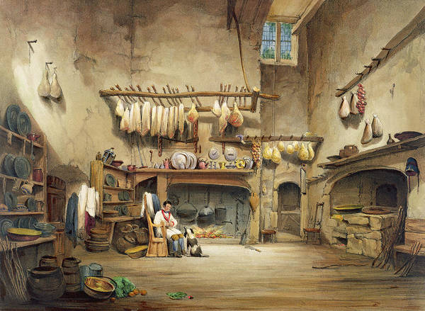 Elizabethan Wall Art - Painting - The Kitchen by English School