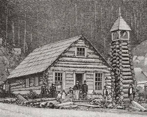 Log Drawing - The Klondike Presbyterian Church At Juneau, Alaska by American School