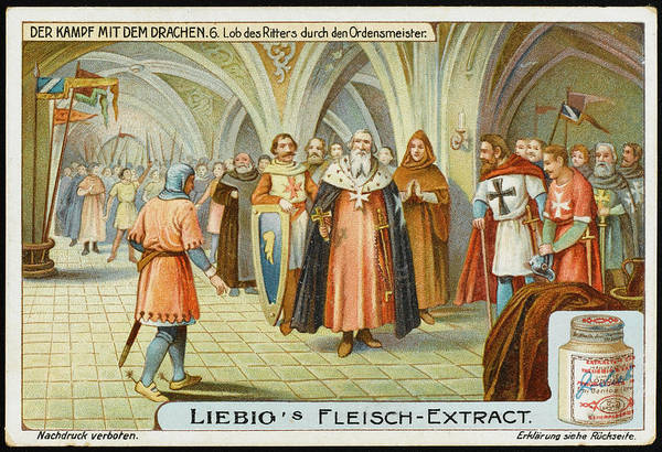 Folklore Drawing - The Knight Is Presented To The  Master by Mary Evans Picture Library