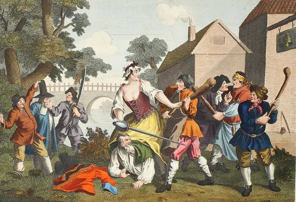 Riverbank Drawing - The Knight Submits To Trulla by William Hogarth