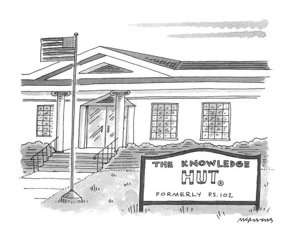 High School Drawing - The Knowledge Hut Formerly P.s. 102 by Mick Stevens
