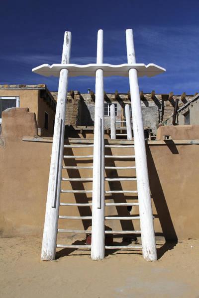 Adobe Photograph - The Ladder Acoma Pueblo by Mike McGlothlen