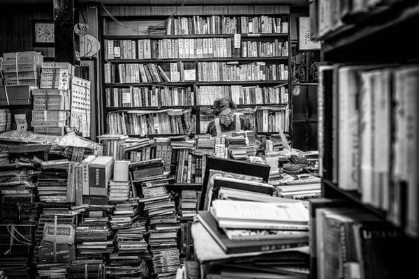 Book Shelf Photograph - The Lady And Her Shelfs by Marco Tagliarino