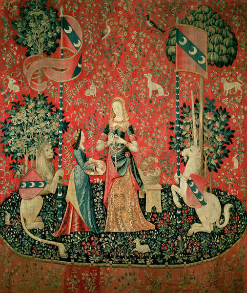 Monkey Flower Wall Art - Photograph - The Lady And The Unicorn Smell Tapestry by French School
