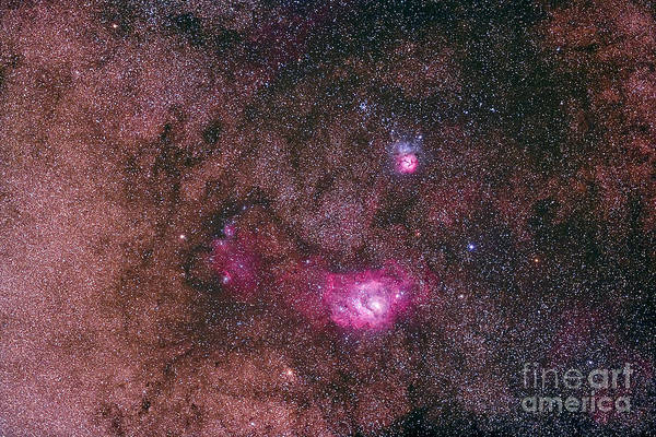 Photograph - The Lagoon Nebula And Trifid Nebula by Alan Dyer