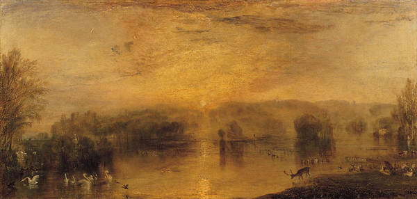 Swan Photograph - The Lake, Petworth Sunset, A Stag Drinking, C.1829 by Joseph Mallord William Turner