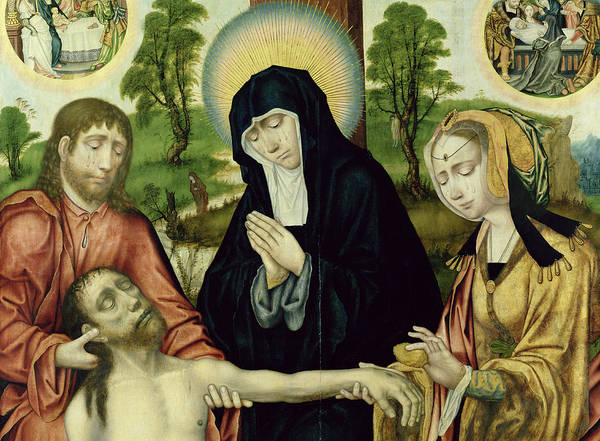 Madonna Photograph - The Lamentation Of The Dead Christ, C.1520 Oil On Panel See 150818 And 150820 by Hamburg Master