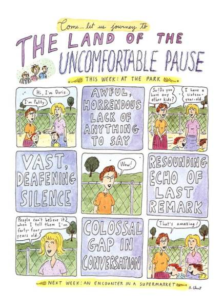Title Page Wall Art - Drawing - The Land Of The Uncomfortable Pause by Roz Chast